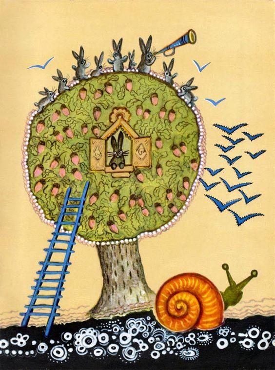 Rabbits, a snail and a tree house <3  Yuri Vasnetsov  Russian fairy tales (1969)