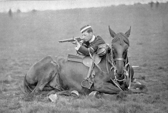 British cavalryman training with his horse circa 1870's