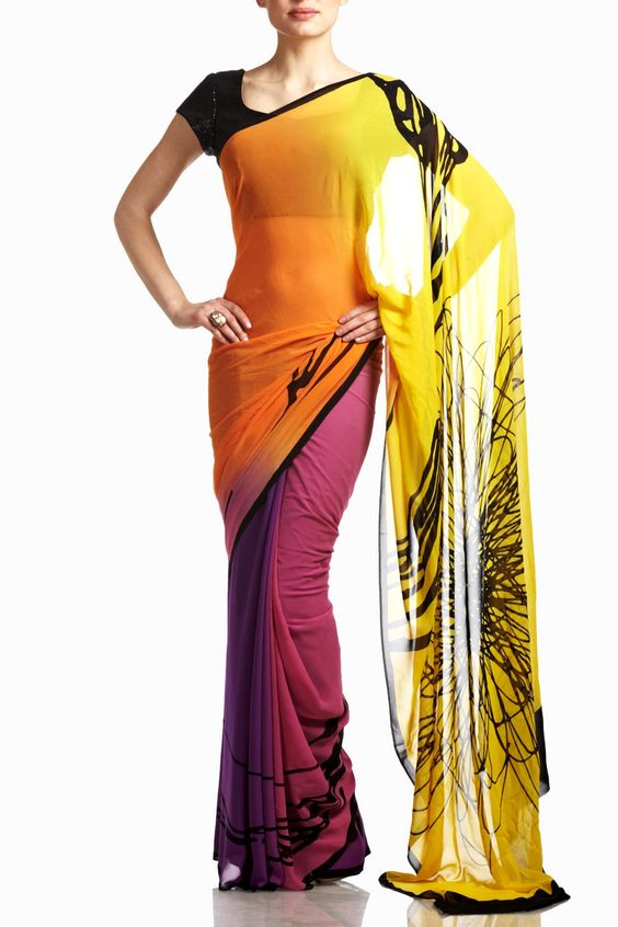 A charming color combination of yellow and pink ombre on this screen-printed georgette saree; this saree comes with an unstitched blouse material. Make your presence felt and drape this eye-catching trendy yet chic saree on a semi-formal dinner or cocktail party.