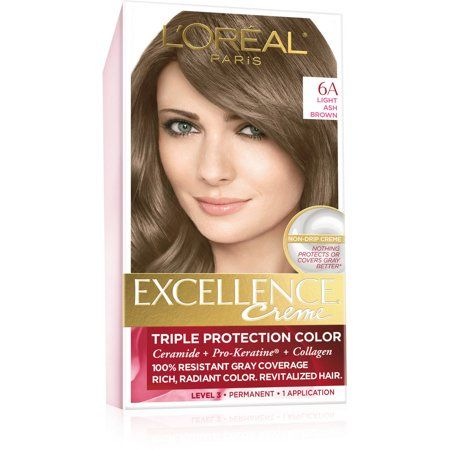 L Oreal Paris Excellence Creme Triple Protection Permanent Hair Color Creme Light Ash Brown 6a 1 0 Ea Pack Of 1 Walmart Com In 2020 Brown To Blonde Balayage Hair Color Light Brown Hair