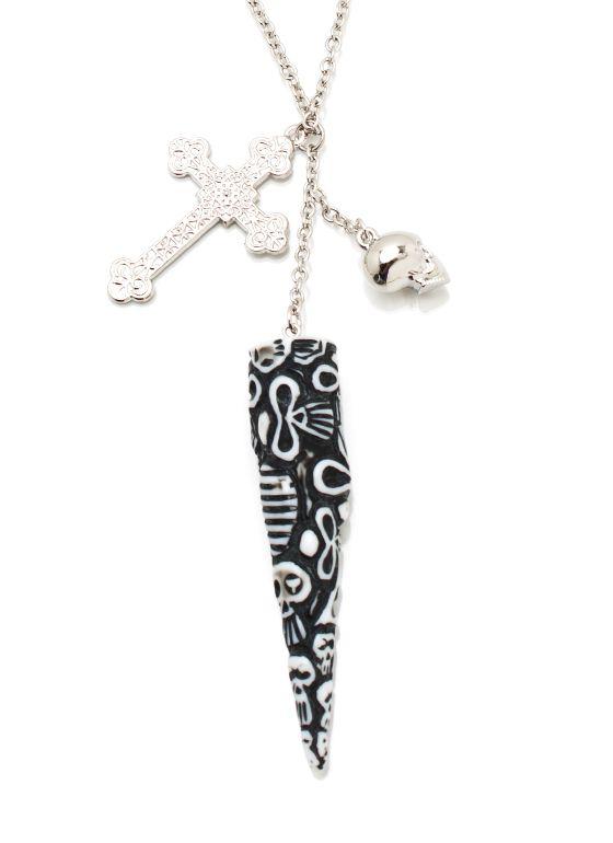 tribal skull tusk necklace