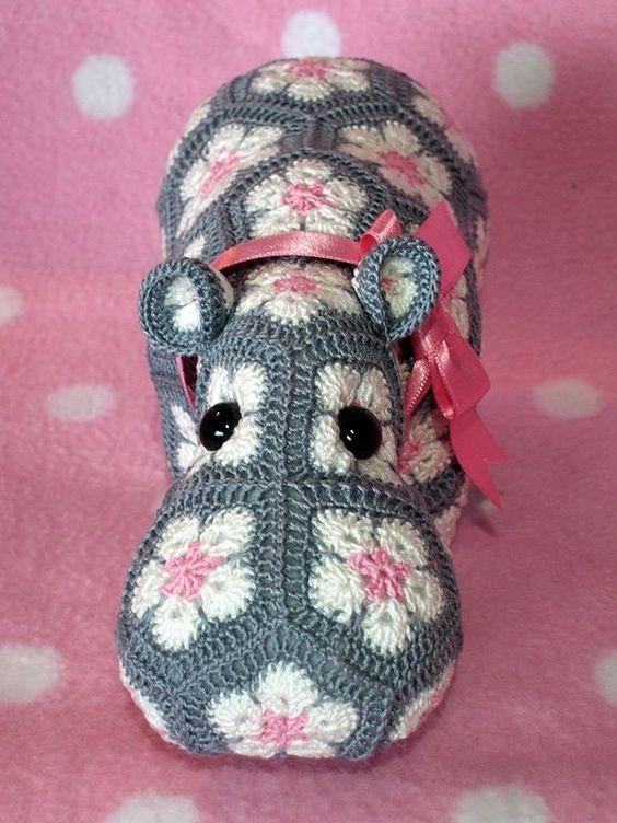 The Happy Hippo Crochet African Flower Free Pattern - Crochet Craft, Crochet Hippopotamus, Pink Bow: