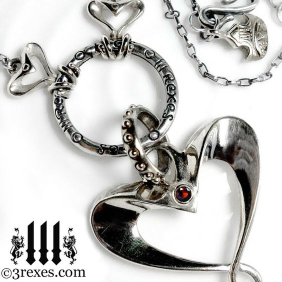 Silver Heart Necklace Red Garnet Stone Gothic by 3RexesJewelry, $275.00