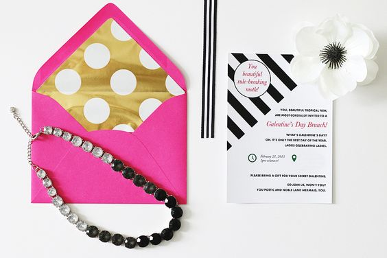 Parks and Recreation Inspired Galentine's Day Brunch Invitation- Bold, Bright, and Modern. Black and white stripe, pink, and gold polka dots.