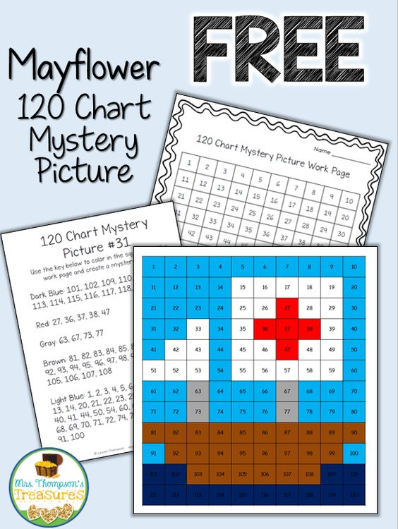 FREE Thanksgiving Activity - Mayflower - 120 Chart - Mystery Picture - Place Value - Numbers - Math #free #thanksiving