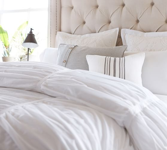 Hadley Ruched Cotton Duvet Cover Shams In 2021 Bed Linens Luxury Duvet Covers Cotton Duvet Cover