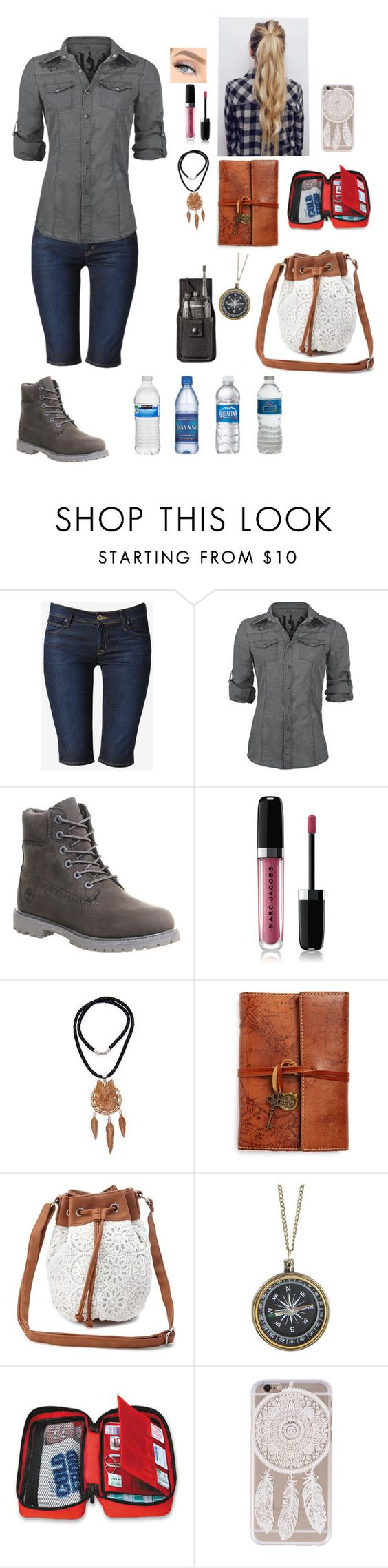 """""""Untitled #679"""" by misswinters ❤ liked on Polyvore featuring Hudson Jeans, Timberland, Marc Jacobs, NOVICA, Patricia Nash and Charlotte Russe"""