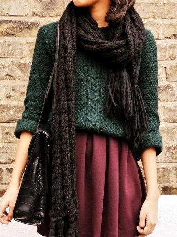 Opt for a dark green knit pullover and a dark red pleated skirt for a casual get-up. Shop this look for $57: http://lookastic.com/women/looks/black-satchel-bag-burgundy-skater-skirt-dark-green-cable-sweater-dark-brown-scarf/7169 — Black Leather Satchel Bag — Burgundy Skater Skirt — Dark Green Cable Sweater — Dark Brown Knit Scarf