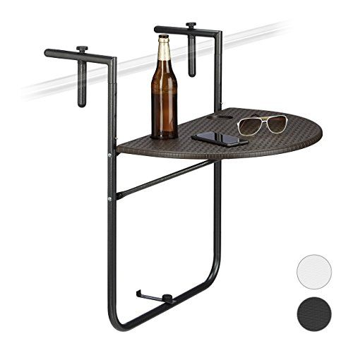 Relaxdays Table De Balcon Pliante Bastian Pliable Appoint Table Suspendue Rabattable Rotin Hauteur Reglable L X P 60 X 40 Cm Table Pliante Balcon Table De Balcon Table Plastique