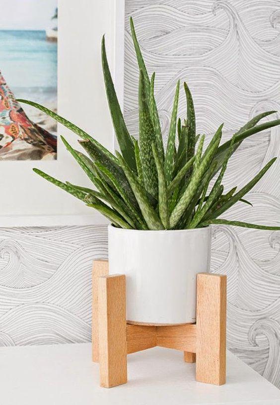 Artesanato Girassol Pedreira ~ Suporte para vaso de planta Jardim Pinterest Madeira
