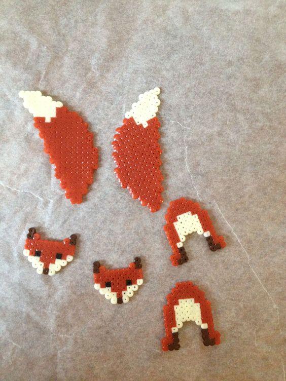 3d fox perler earrings keychain kandi and perler