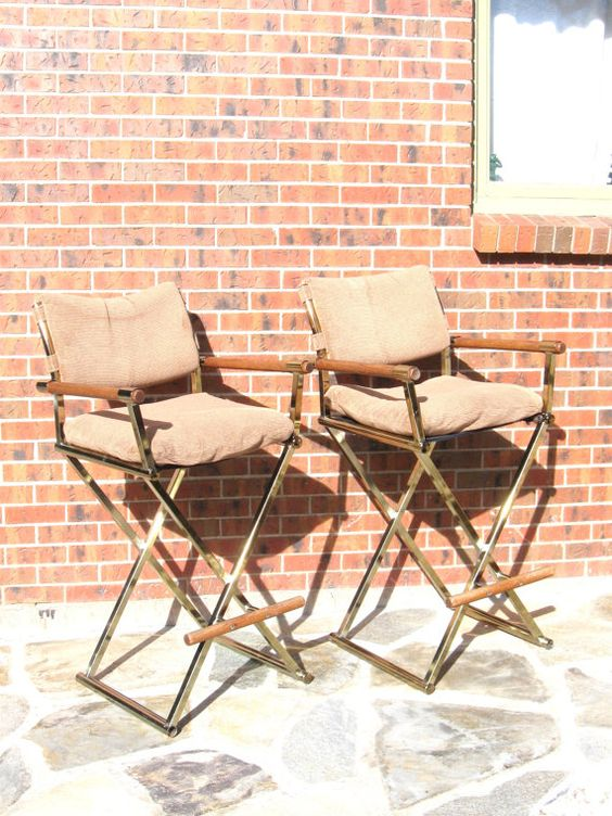 Vintage s brass and wood directors chair bar stools with upholstered seat