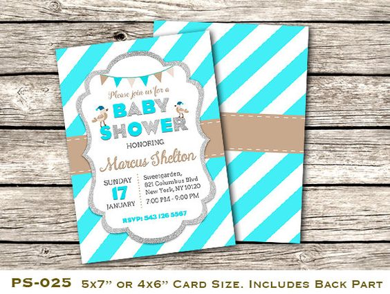 Printable Boy Baby Shower Invitation, Personalized Boy Baby Shower Invite, DIY Blue Baby Shower Invite, Includes Back Design, PS-025.