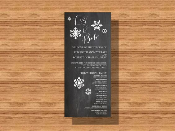#WinterWedding #Program, #Chalkboard #Wedding #Program, Printable Wedding Program by WeddingsByJamie on Etsy