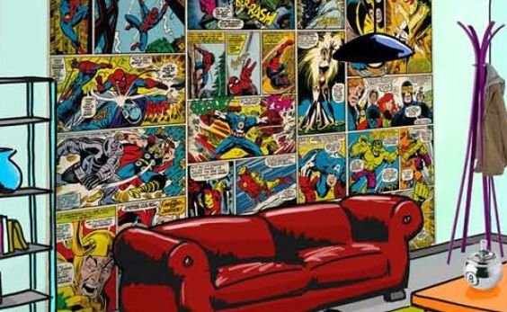 fresque murale marvel comics 368cm en papier peint maxi. Black Bedroom Furniture Sets. Home Design Ideas