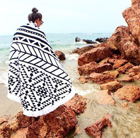 Hot Sale Geometric Stitching Printing Fringed Beach Towel Dual Sun