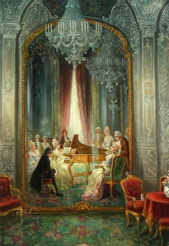 Grand piano rococo interior with people and music for Rococo period paintings
