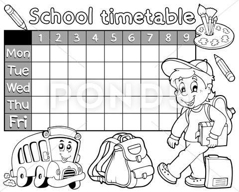 Coloring Book School Timetable Illustration Stock Illustration