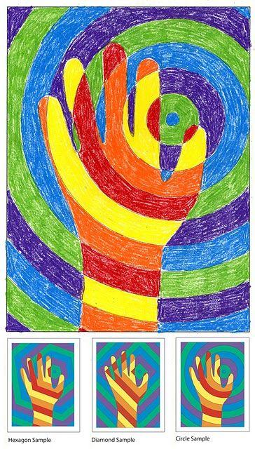 2010 art project 5 warm vs cool colors circles sub plans and optical illusion art. Black Bedroom Furniture Sets. Home Design Ideas