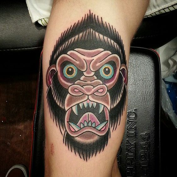19 Knee Tattoo Designs Images And Pictures: Gorilla Tattoo And