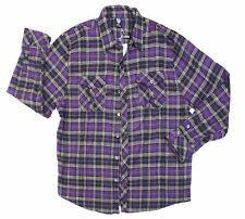 New Mens G Flannel Shirt Long Sleeve Plaid Purple 3X
