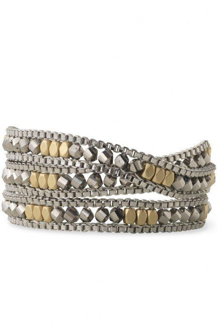 Luna wrap bracelet by Stella & Dot. Photo of woven glass beads in white bronze & satin gold on brass chain.:
