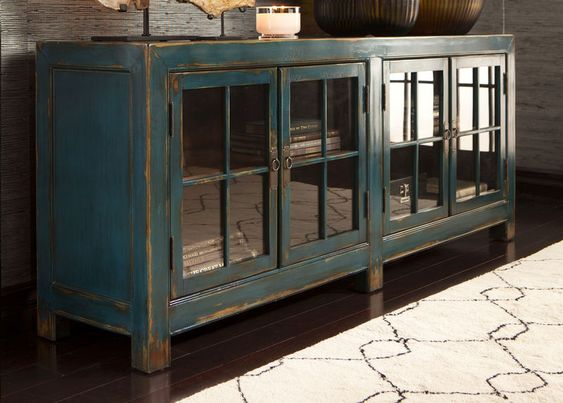 Ming Media Cabinet in Aged Teal, Ethan Allen - LOVE this cabinet - more teal than blue in person and it's shiny (lacquered)