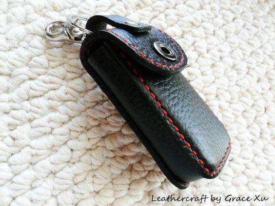 100% <b>hand stitched</b> handmade <b>black</b> cowhide <b>leather car</b> remote ...