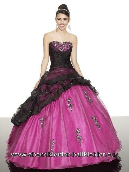 abendkleid schwarz pink