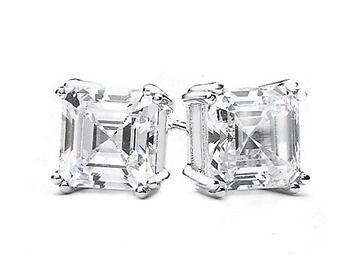 $9.99 - 2 Ct White Topaz Princess-Cut Silver Stud Earrings