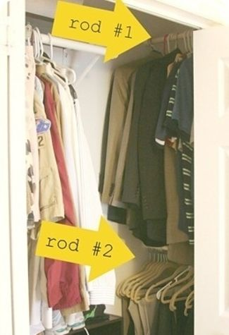 "Use the sides of your closet to hang up more rods. Side of closet often have that weird ""dead space"" Add tension bars and hang additional clothing up, a scarf rack or hang purses so they don't get smashed in storage."