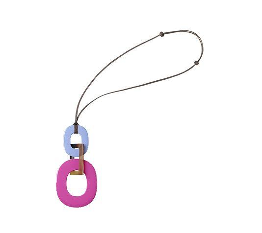 birkin crocodile bag - Kara Hermes necklace in buffalo horn and lacquer Lavender/magenta ...
