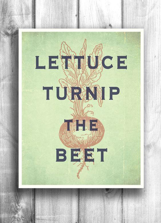 Kitchen Wall Decor Vegetables : Vegetable garden typographic print quote art