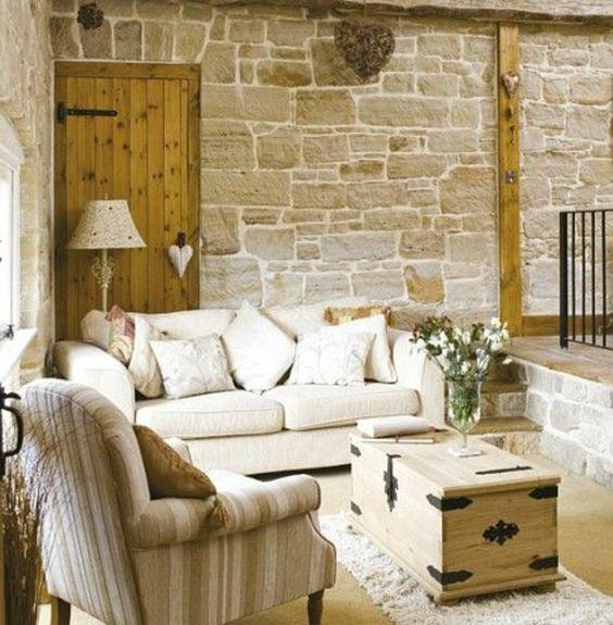 coole einrichtungsideen country style wohnzimmer ziegelwand