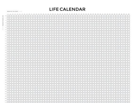 Weekly Life Calendar : This is your life in weeks week by and