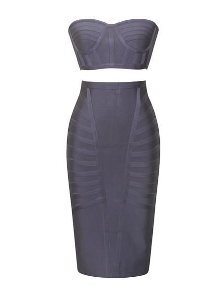 Dalia Grey Strapless Two Piece Bandage Dress with Fabric Pattern