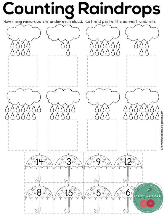No Prep Spring Activities Counting Raindrops, Spring Math Kindergarten, Pre-school