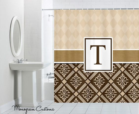 Monogram Customs - Criss Cross Brown Monogram Shower Curtain, $74.99 (http://www.monogramcustoms.com/criss-cross-brown-monogram-shower-curtain/)