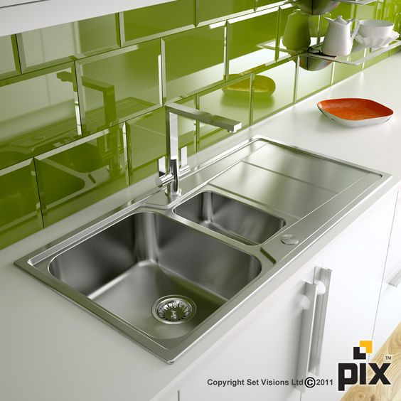 Lime green brick tiles in a crisp white kitchen stainless for Lime green kitchen wallpaper