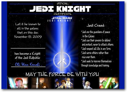 LEGO Star Wars Jedi Training Certificate Star Wars Party - training certificate
