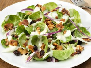 Rich, creamy Simply Dressed Blue Cheese Dressing is the perfect way to bring out the brussels sprout, fennel, currant and bacon flavors in this salad.