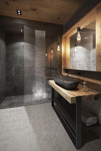 Salle de bain moderne en pierre naturelle et en bois
