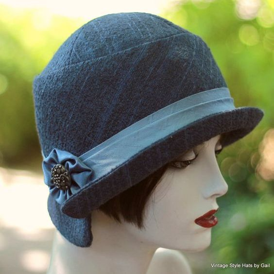 Custom Made Tailored Hat In A Cloche 1920'S Vintage Great Gatsby Style  Steel Blue