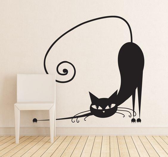 Vinilo decorativo gato estirándose
