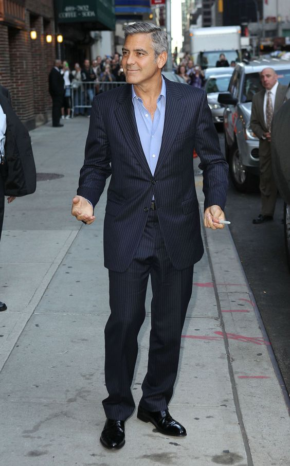 George clooney navy pinstripe suit light blue shirt no for Light blue pinstripe shirt
