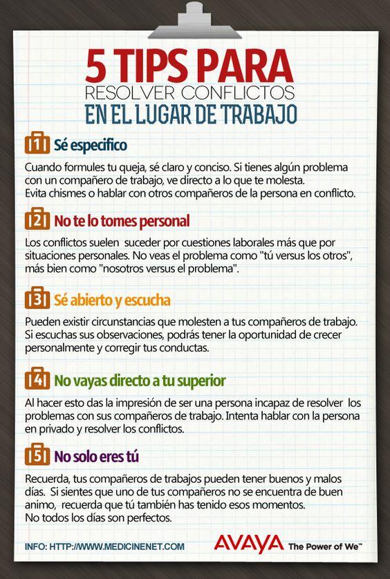 5 consejos para resolver conflictos en el trabajo #infografia #infographic #rrhh