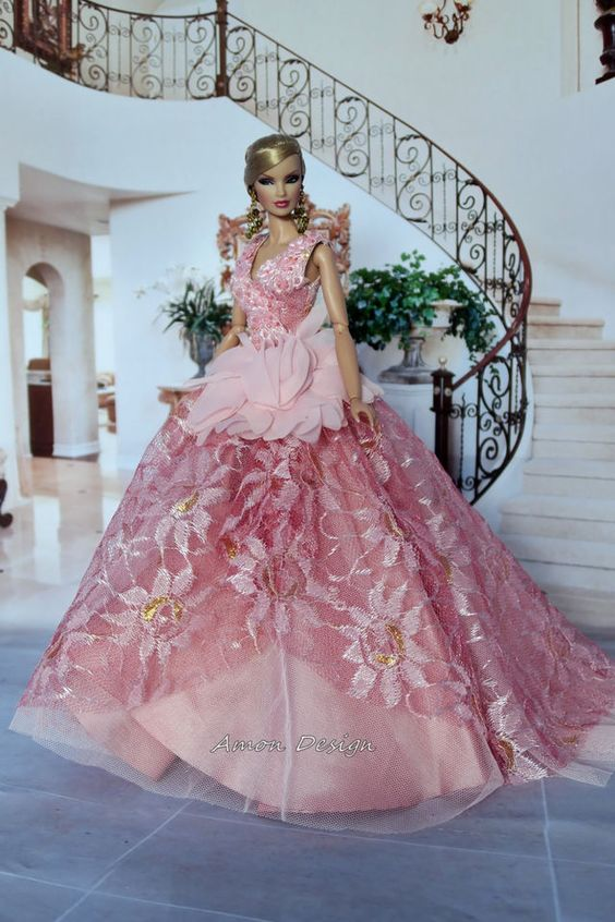 Amon Design Gown Outfit Dress Fashion Royalty Silkstone Barbie Model Doll FR