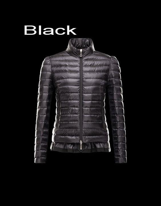 Moncler Aminta Women Full Zip Lightweight Down Jacket Black Outlet
