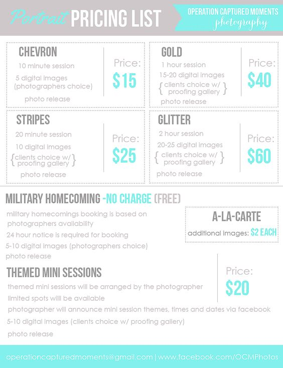 Photography Price List Pricing List for by PhotographTemplates - photo copyright release forms
