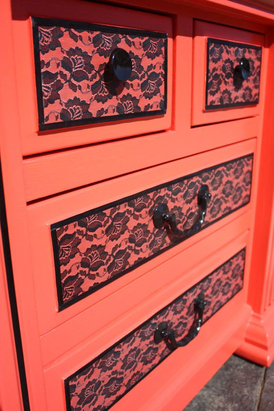 Tangerine pink, lace dresser from etsy user frivicalfancy.: